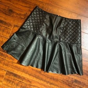 Black Steampunk Couture Faux Leather Skirt